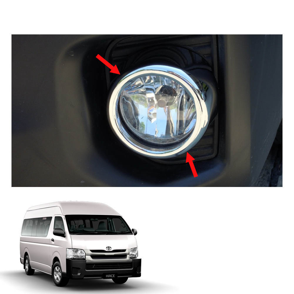 CHROME FOG LIGHT LAMP LEDs COVER TRIM FIT FOR TOYOTA COMMUTER HIACE 11 12 13 14