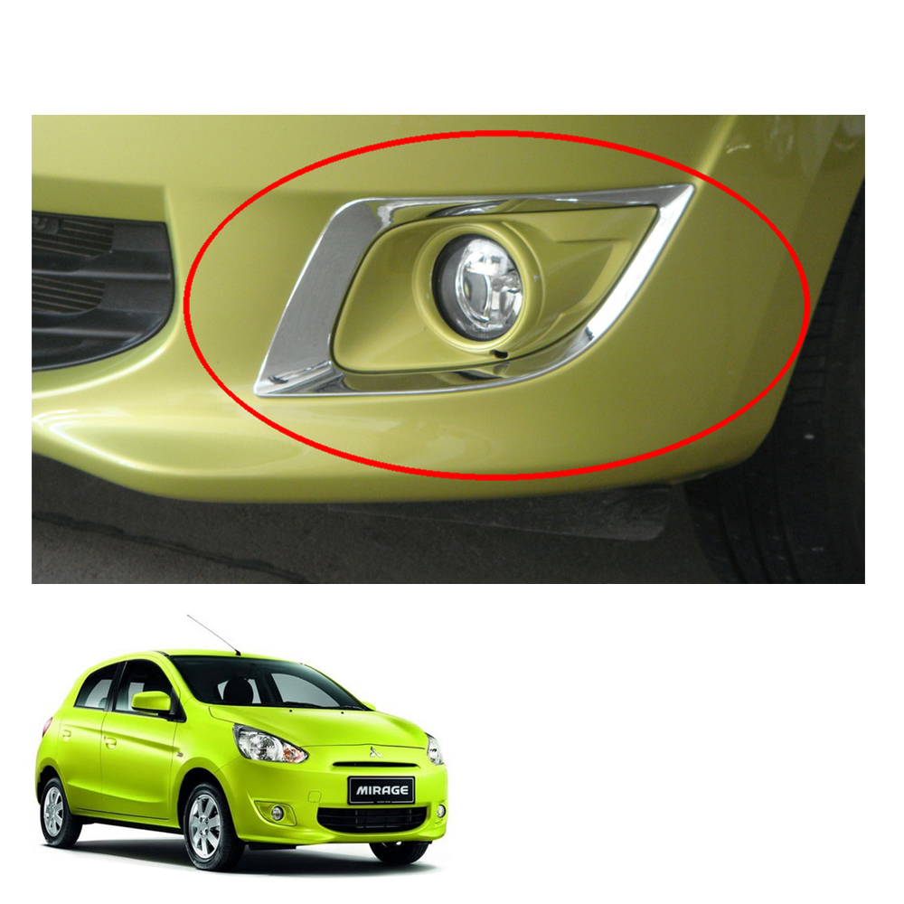 Fit For Mitsubishi Mirage 2012-2015 Chrome Head Light Lamp Cover Trim 2 PCS
