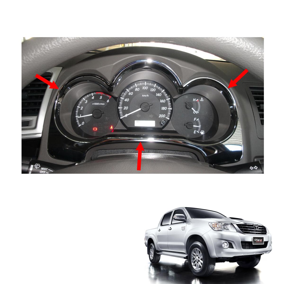 Dash Guage Cover Trim Chrome Fits Toyota Hilux Vigo Champ MK7 Truck SR 2011-2015