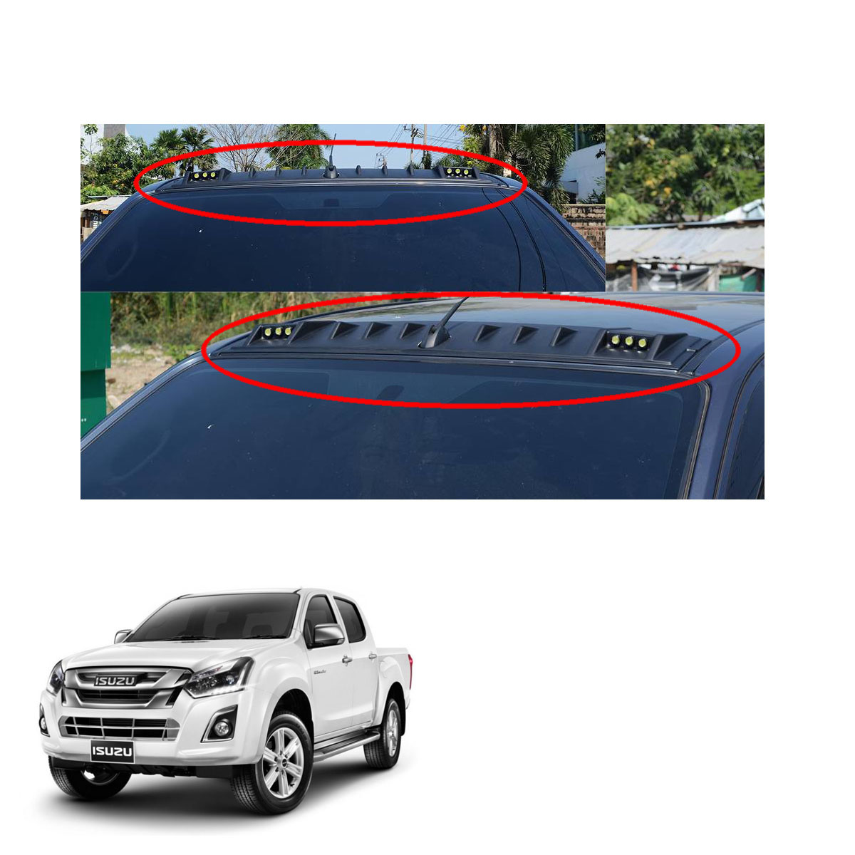 Led Front Roof Spoiler Cover Black 1 Pc Fit Isuzu D Max Holden Rodeo