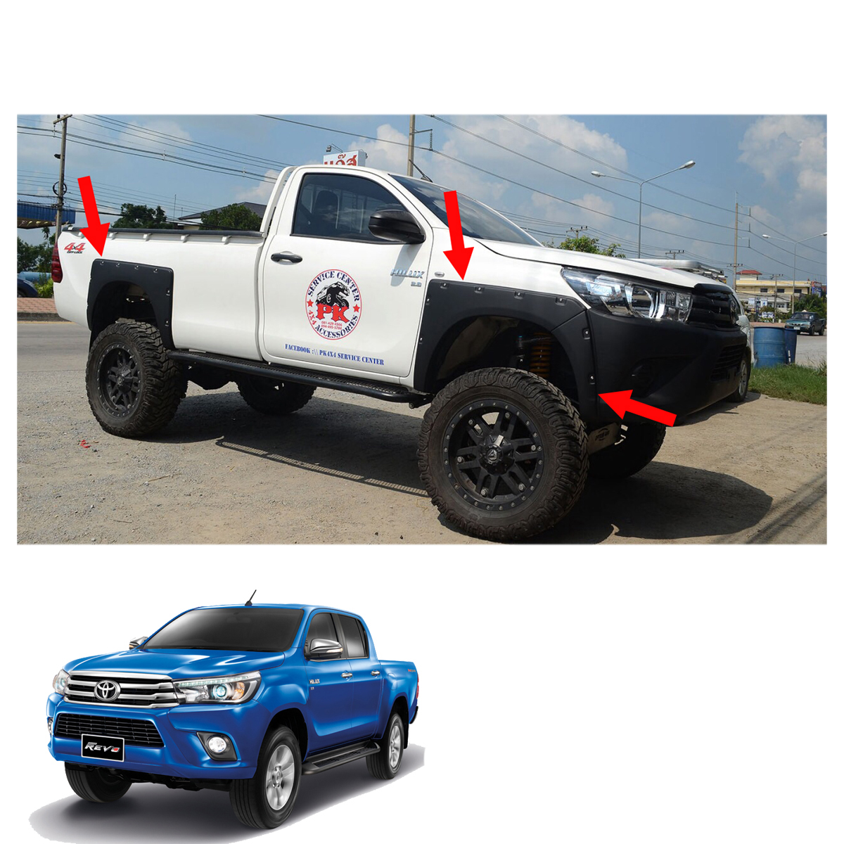 """MATTE BLACK FENDER FLARES FLARE 6/"""" WITH NUT FIT FOR TOYOTA HILUX REVO 15-17"""