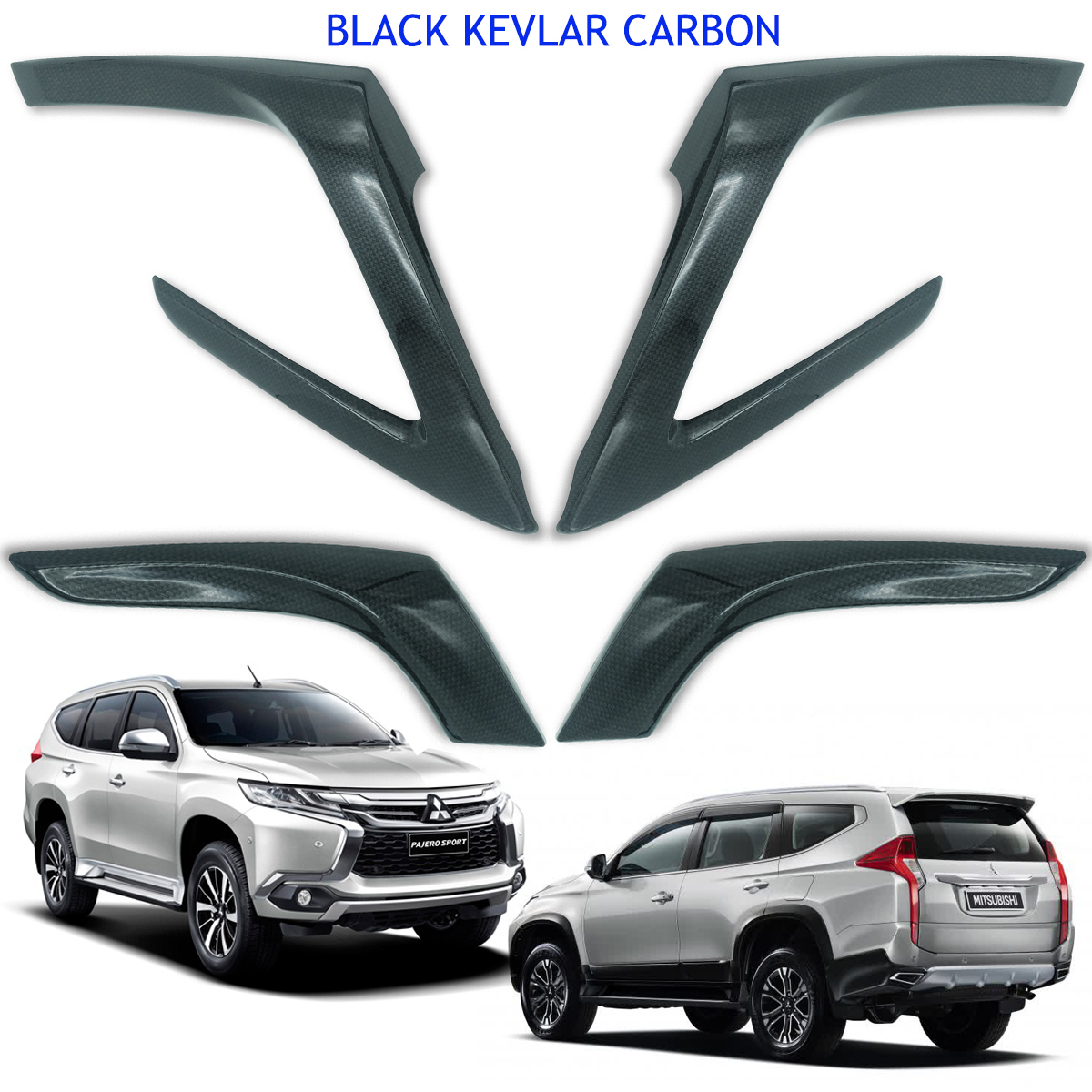 BLACK Carbon 4DOOR HANDLE BOWL INSERT COVER MITSUBISHI MONTERO// PAJERO SPORT V.8