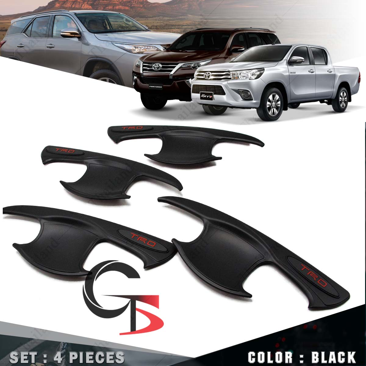 Bowl Handle Chrome Insert Cover Fit Toyota Hilux Revo 4 Dr Cab Truck Ute 15 17