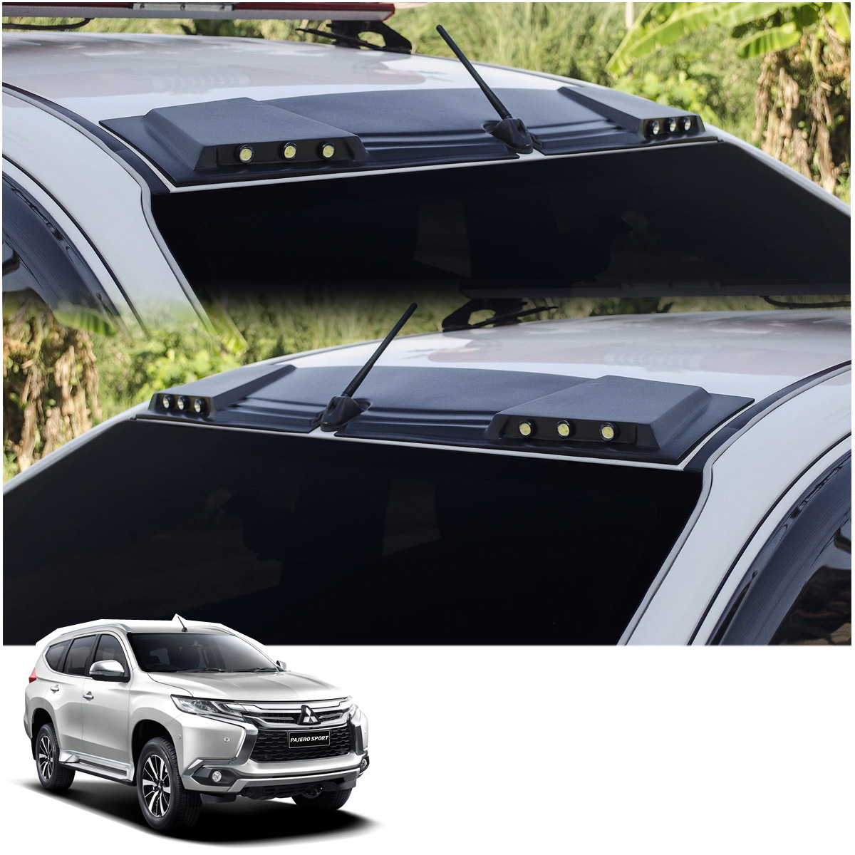 Mitsubishi Sports Car List: Front Leds Roof Gap Spoiler Black Fits Mitsubishi Pajero