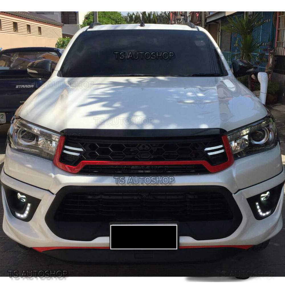 Black Drl Daylight Front Grille Grill Abs Fit Toyota Hilux