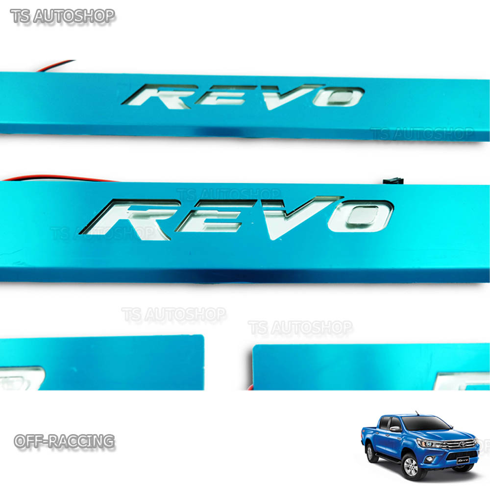 Scuff Plate Stainless Steel Blue Led Fit Toyota Hilux Revo SR5 4Dr 2015 2016 17
