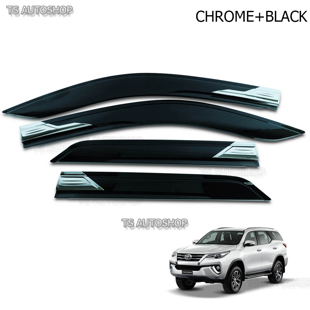 Chrome Black Visor Weather Guards Rain Fit Toyota Fortuner Suv 2.8 3.0 2016  2017 05a7482bb6b