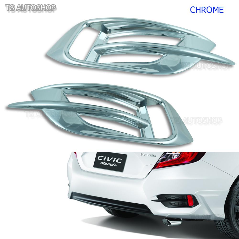 2x Chrome Rear Bumper Reflector Cover Trim for Honda Civic 10th Sedan 2016-2018