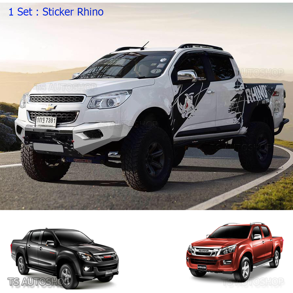 Rhino Sticker Off-Road Vinyl Matte Black Isuzu Holden D ...