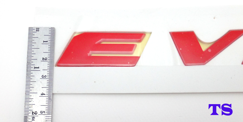 "RED REAR LOGO /""EVOLUTION X/"" EMBLEM FOR MITSUBISHI EVOLUTON X 10 4DOOR SEDAN"