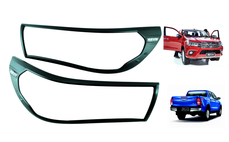 Matte Black Head Tail Light Lamp Cover Fits Toyota Hilux Revo M70 M80 Sr5 15 16