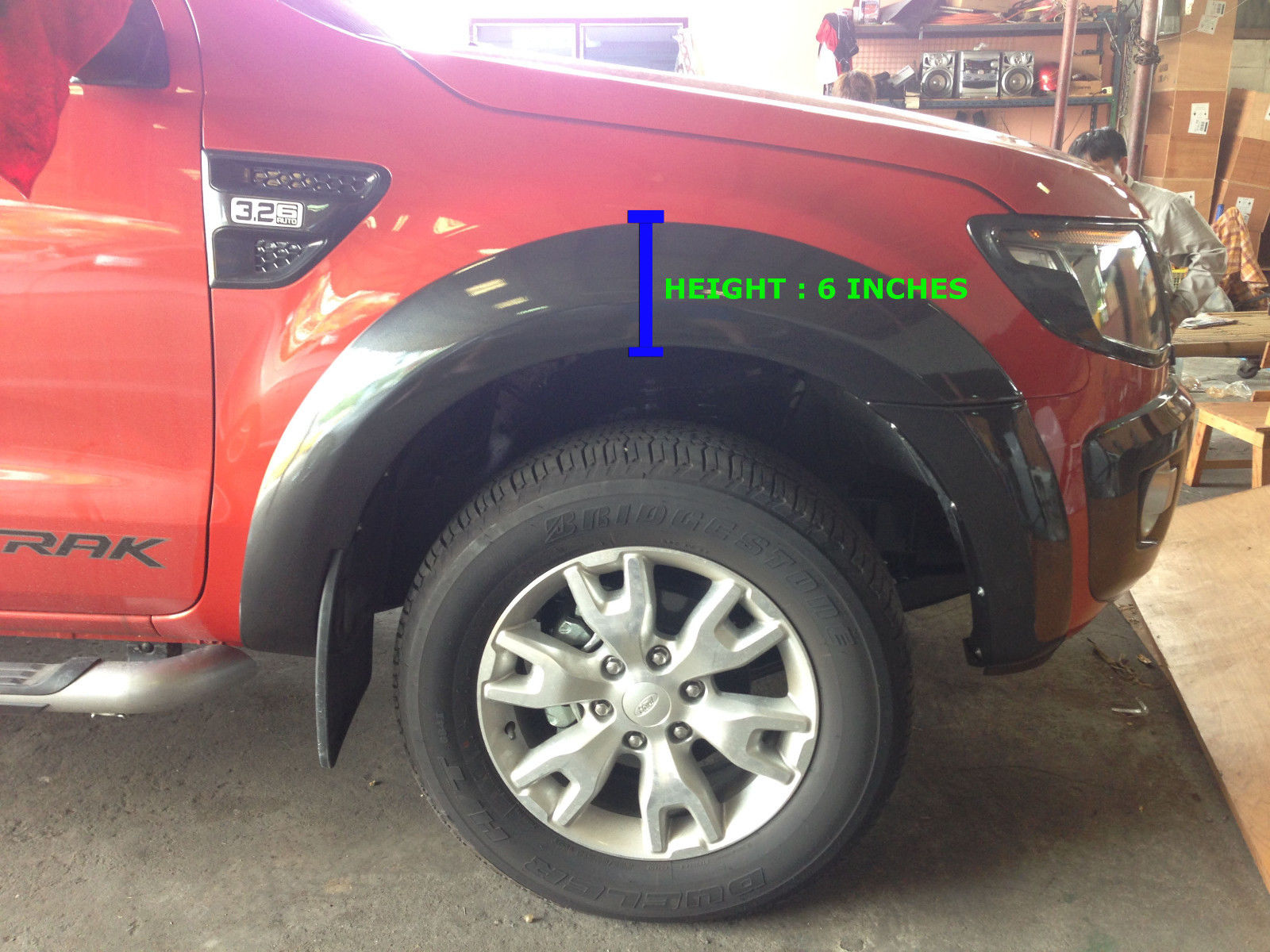 Orange fender flare wheel arch 4door double cab for ford ranger t6 2012 2014